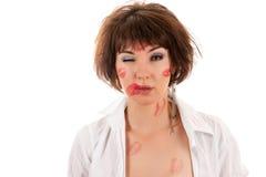Kiss drunken woman in shirt Royalty Free Stock Image