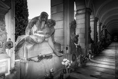 A kiss before dying. Grave in the cemetary of Staglieno in Genova Royalty Free Stock Photos