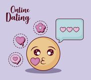 Online dating design. Kiss emoji and speech bubble with online dating related icons over  purple background, colorful design. vector illustration Royalty Free Stock Photography