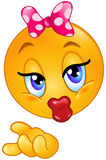 Kiss emoticon. Cute emoticon blowing a kiss Royalty Free Stock Image