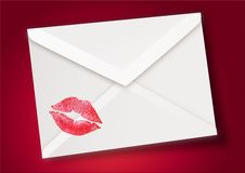 Kiss + envelope. Kiss stamp on a envelope Stock Photo