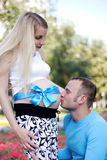Kiss father pregnant barter in the stomach. In park Royalty Free Stock Images
