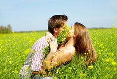 Kiss in the field. Portrait of young romantic couple embracing one another in flower field Royalty Free Stock Image