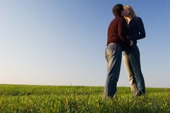 Kiss in the field stock photography