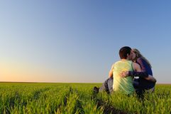 Kiss in the field Royalty Free Stock Photography