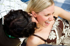 Kiss Flirt Couple Royalty Free Stock Photo