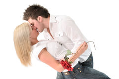 Kiss after flowers Royalty Free Stock Images