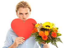 Kiss flowers heart Royalty Free Stock Images