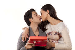 Kiss and gift Stock Images