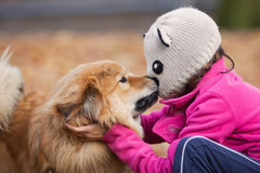 Kiss of a girl and a dog Stock Image