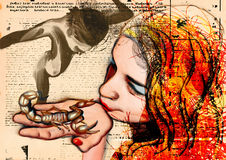 The Kiss - An Girl and Scorpio Royalty Free Stock Images