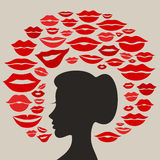 Kiss2. The girl thinks of a kiss. A vector illustration Royalty Free Stock Photo