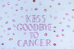 Kiss goodbye to cancer sign UK. Stock Image