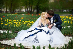 Kiss groom and bride Royalty Free Stock Photo
