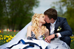 Kiss groom and bride Royalty Free Stock Photos