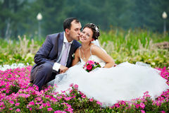 Kiss groom and happy bride Stock Images