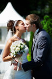 Kiss happy bride and groom at wedding walk in park stock image