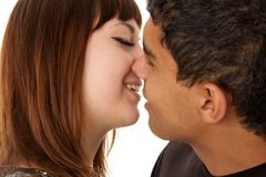 Kiss. Happy loving couple. Royalty Free Stock Photo