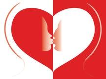 Kiss in heart Stock Photos