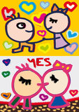 Kiss and hearts. Propose to hand and hearts and kiss Royalty Free Stock Images