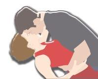 Kiss illustration. Youn man and woman kissing Royalty Free Stock Image