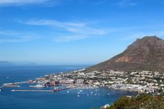 View of Simons Town, South Africa. A landscape shot of the ocean and mountains and harbour at Simons Town, Cape Town, South Africa Royalty Free Stock Photography