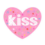 Kiss lettering decorative heart Royalty Free Stock Photography