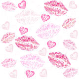 Kiss, lips, hearts vector pattern background Stock Image