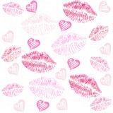 Kiss, lips, hearts vector pattern background. Seamless lips, kiss print illustration pattern Stock Image