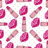 Kiss lips and pink lipstick fashion  seamless Stock Image