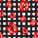 Kiss, Lips Seamless Pattern background. Vector Illustration isolated on white. Royalty Free Stock Photo