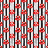 Kiss, Lips Seamless Pattern background. Vector Illustration isolated on white. Stock Photos
