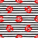 Kiss, Lips Seamless Pattern background. Vector Illustration isolated on white. Stock Photography