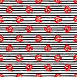 Kiss, Lips Seamless Pattern background. Vector Illustration isolated on white. Stock Photo