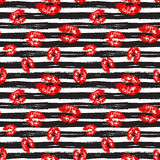 Kiss, Lips Seamless Pattern background. Vector Illustration isolated on white. Royalty Free Stock Photography