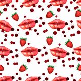 Kiss lips seamless pattern lover Valentine colorful love kiss red pink lip and strawberry pattern royalty free illustration