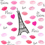 Kiss and lips textile pattern with Eiffel tower vector illustration. Background Royalty Free Stock Image
