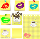 Kiss lips on yellow sticker. Note.A cup of coffee on a sticker.A cup of hot chocolate on a sticker Royalty Free Stock Photography