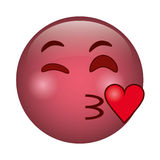 Kiss love emoticon funny icon Stock Images