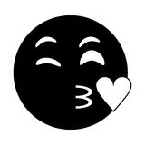 Kiss love emoticon funny pictogram Stock Images