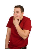 That kiss made me so shy!. This man has been kissed and became shy; isolated on white Royalty Free Stock Photo
