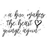 A kiss makes the heart young again. Royalty Free Stock Photos