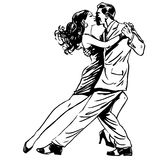 Kiss man and woman dancing couple tango retro line art royalty free illustration