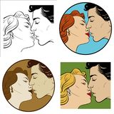 Kiss of a man and a woman. Kiss of loving men and women. Set of four illustrations Royalty Free Stock Images