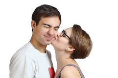 Kiss me. Young men gets a peck on the cheek Royalty Free Stock Image