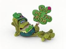 Kiss Me. Irish frog figure with kiss me I'm Irish sign stock photos