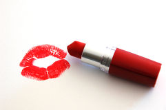 Kiss Me. Image of lips from red lipstick Royalty Free Stock Photo
