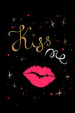 Kiss me black card Royalty Free Stock Photography