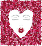 Kiss Me Girl. Vector art in Illustrator 8. Face and hearts on separate layers Royalty Free Stock Photography