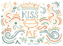 Kiss me. Hand drawn vintage print with decorative ornament. Royalty Free Stock Photos